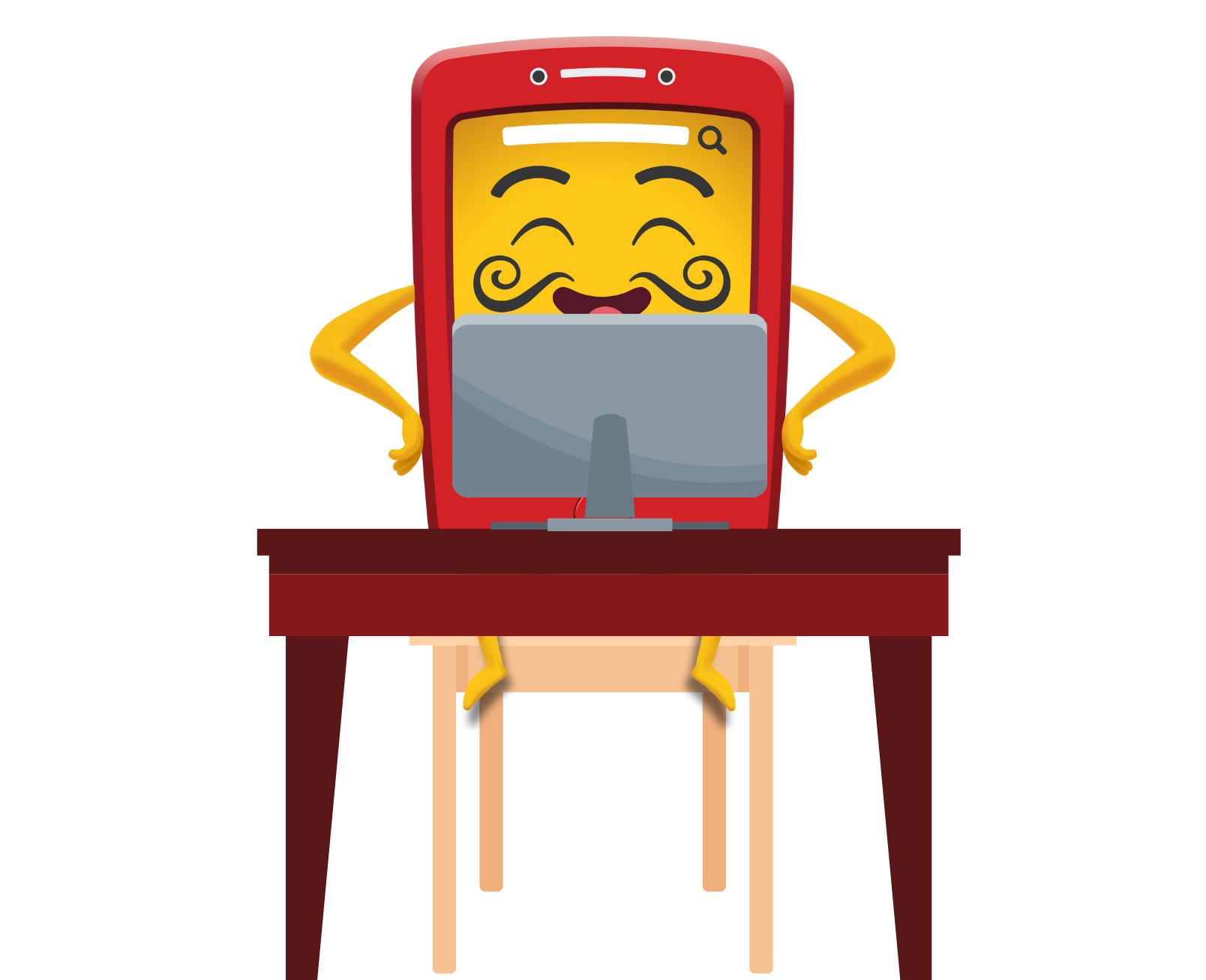 Cardapinho, o mascote da Cardápio Web, sentado mexendo num computador representando que o Cardapinho está trabalhando para os clientes da Cardápio Web realizando um atendimento de suporte