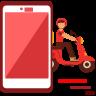 Ícone de celular com entregador representando delivery da Cardápio Web