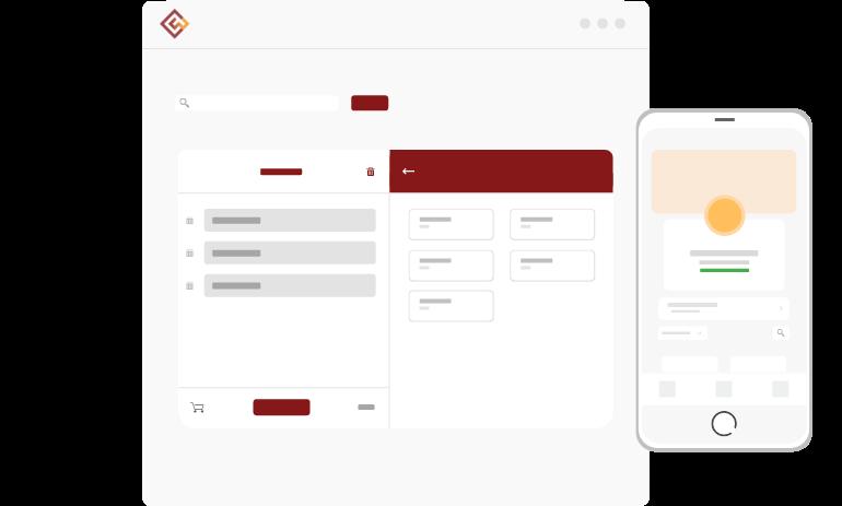 Tela de pedidos de balcão do Cardápio Web de forma ilustrativa com um celular com um link do cardápio digital de balcão da Cardápio Web