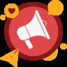 Ícone de autofalante com pequenos ícones de rede social representando os módulos de marketing da Cardápio Web