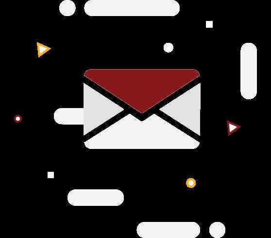 Imagem de envelope representando e-mail com as cores da Cardápio Web e símbolos de triângulo e círculos flutando na imagem