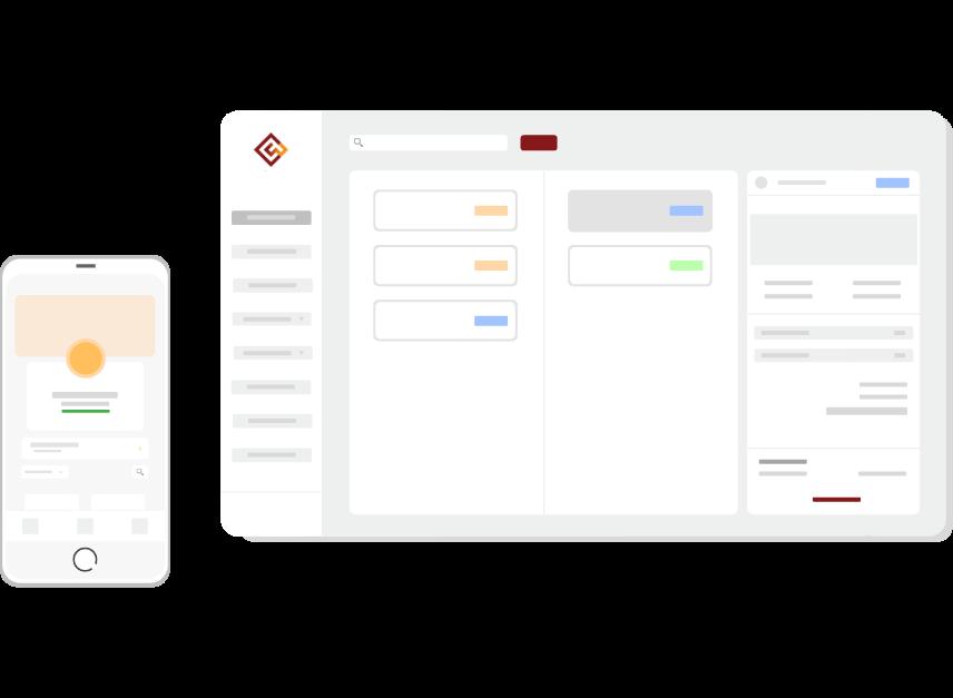 Imagem ilustrativa representando o a área de gestão de pedidos do sistema da Cardápio Web com o cardápio digital da Cardápio Web no formato de celular